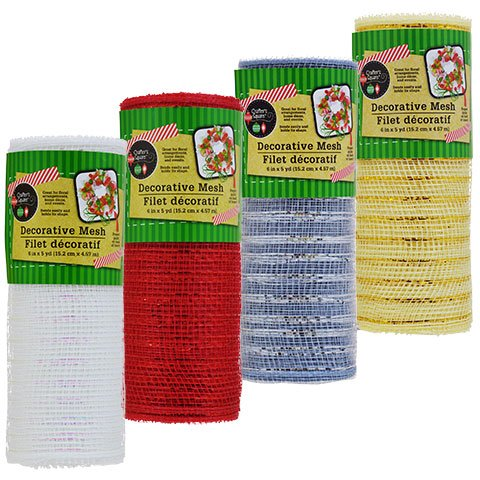 Crafter's Square Christmas Colors Decorative Mesh, 4 Rolls (5 Yards Each)