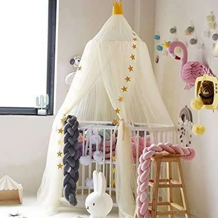 95 inch Dome Princess Bed Lace Canopy Mosquito Net for Hammock Kids Baby Crib/Round Dome Kids Indoor Outdoor Castle Play Tent Netting Hanging Games House Bedroom Decoration Reading Functional Childrens Room Decorate Height 240cm P Ornaments NOT include
