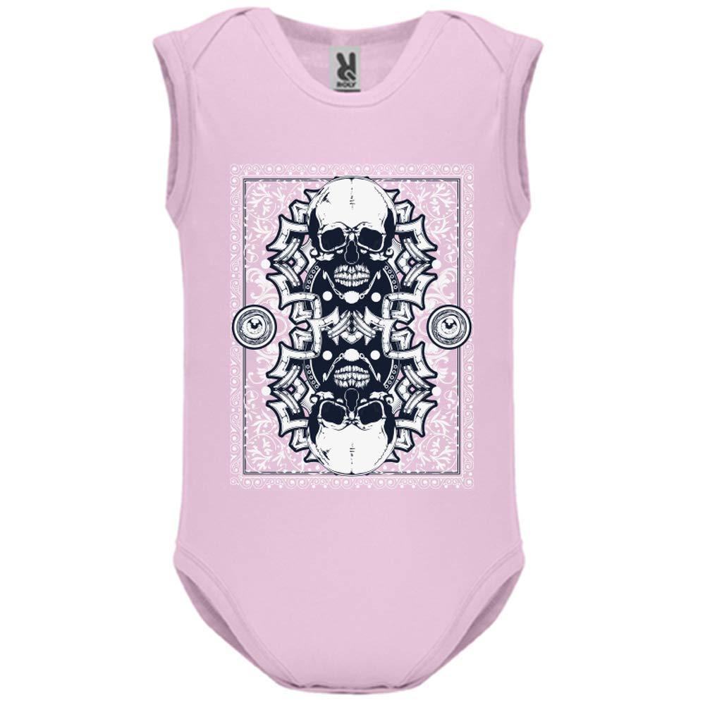 LookMyKase Body bébé - Manche sans - Skull Card - Bébé Fille - Rose - 3MOIS