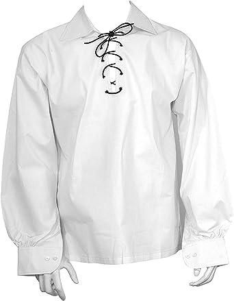 Camisa Escocesa Blanca, Jacobite Ghillie Kilt, con cuerda de cuero: Amazon.es: Ropa y accesorios
