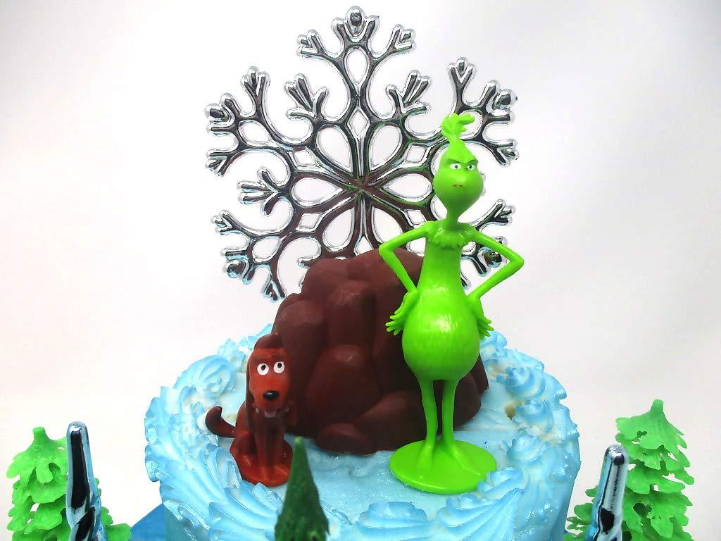 "Grinch Themed 8th Birthday Cake Topper 8/"" 20cm Round Icing Decoration Boys Girls"