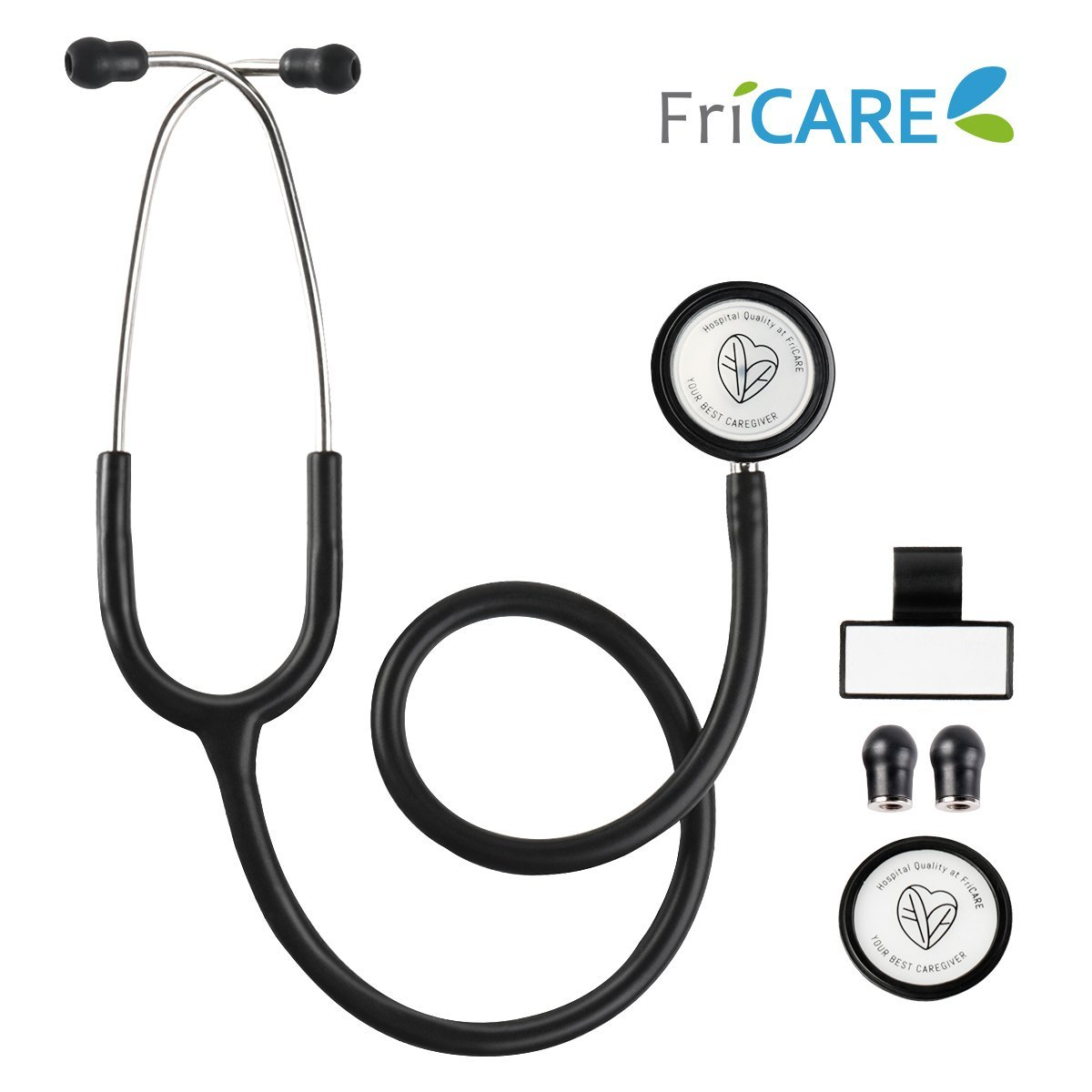 Dual Head Stethoscope for Medical and Home by FriCARE, Classic Lightweight Design, Stethoscope for Pediatric, Infant, Adult, Gift for Nurses, Medical Students, 28 inch (Black)
