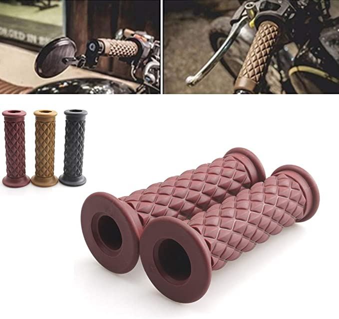 Details about  /Retro Bicycle Ergonomic Grip Suede Frosting Leather Vintage Bike Handlebar Grips