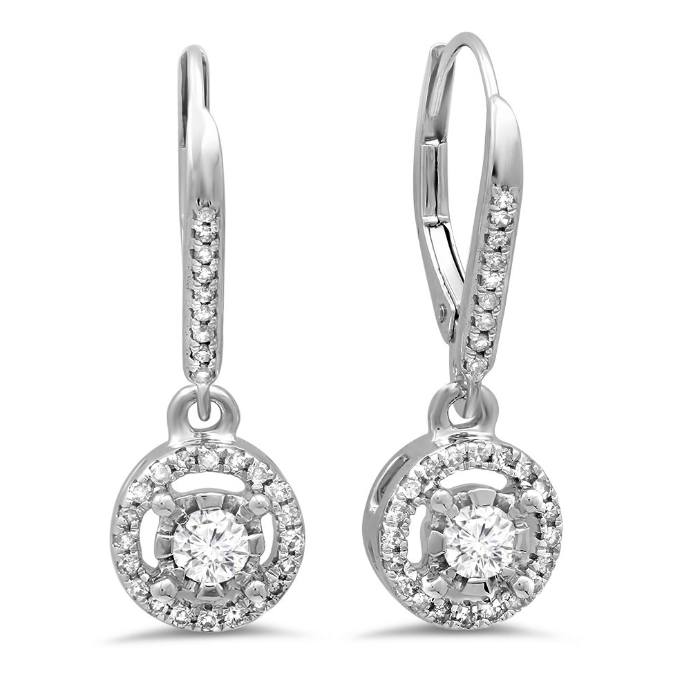 0.50 Carat (ctw) 14K White Gold Round Diamond Ladies Cluster Halo Style Dangling Drop Earrings 1/2 CT