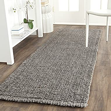 Safavieh Natural Fiber Collection NF447G Hand Woven Light Grey Jute Runner, 2 feet 6 inches by 6 feet (2'6  x 6')