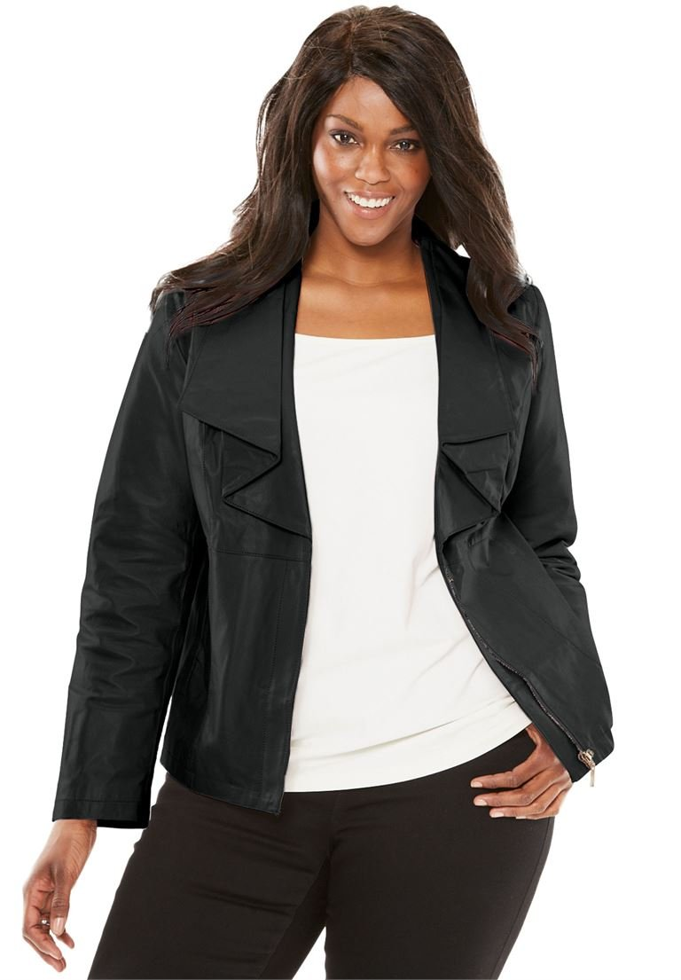 Jessica London Women's Plus Size Leather Jacket With Ruffle Front Black,28