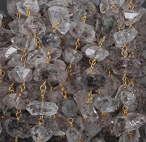 3 feet Herkimer Diamond Free Size Beads Rosary Style Beaded Chain - Herkimar Beads Wire Wrapped 925 Sterling Vermeil Chain