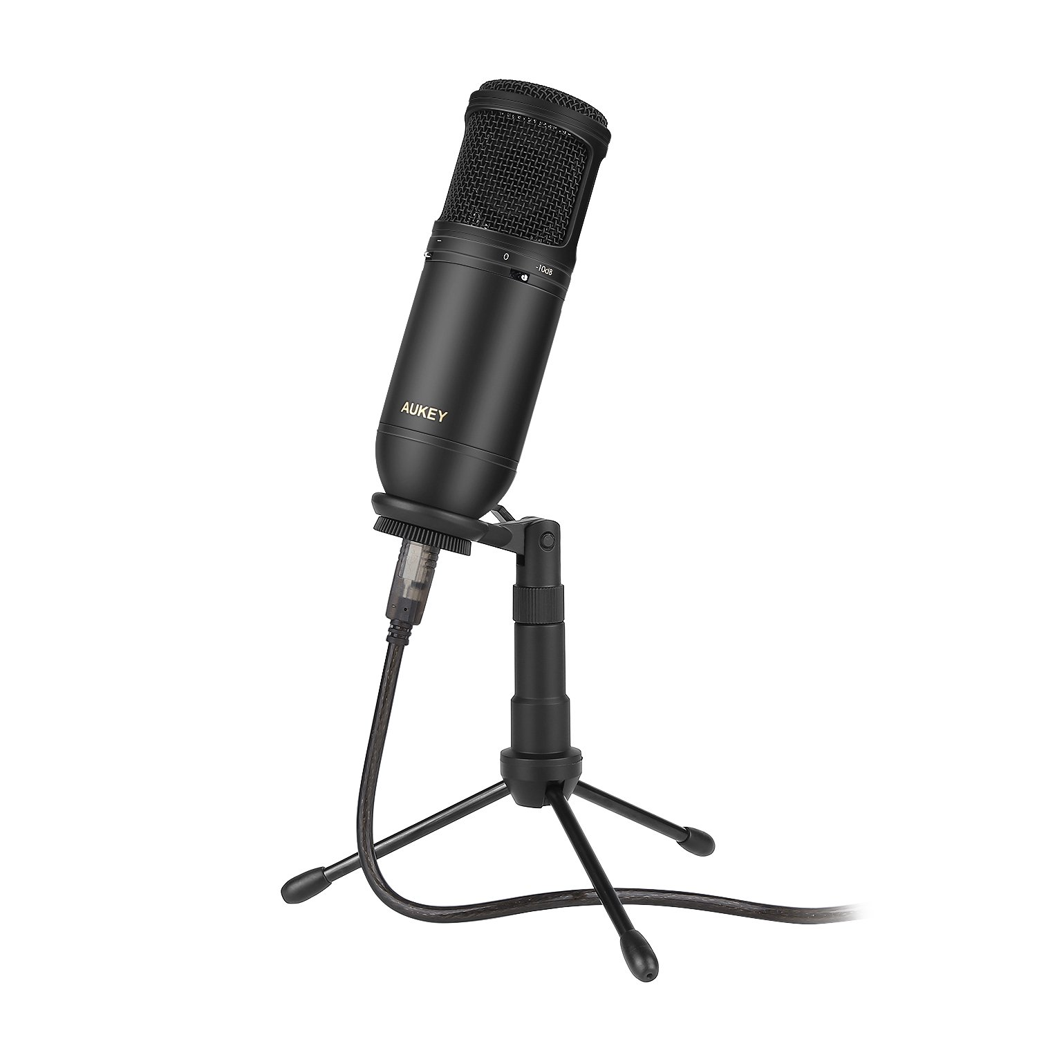 AUKEY USB Condenser Microphone for Recording, Cardioid Microphone with Low Cut & PAD Switch and Tripod Stand for Mac, PC and Computer by AUKEY