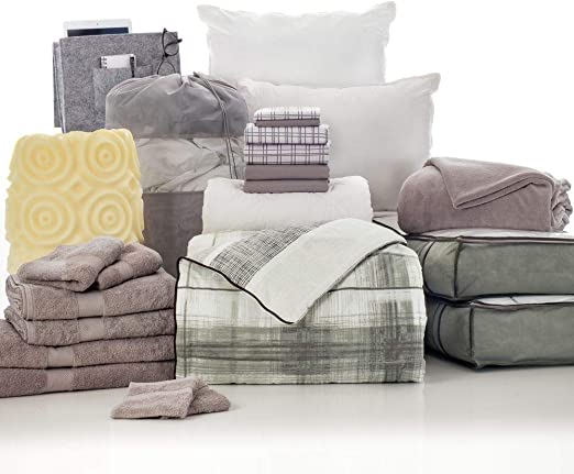 Beige Room Essentials Twin-Xtra Long Dorm Comforter Grayish Blue /& White NEW
