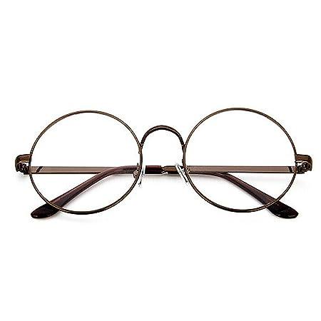 45f4507eb1 Unisex Retro Round Metal Frame Clear Lens Glasses Eyeglasses Vintage Geek  Glasses (Bronze)  Amazon.co.uk  Kitchen   Home