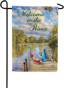 Custom Decor River Dock Welcome - Garden Size, Decorative Double Sided, Licensed and Copyrighted Flag - Printed in The USA Inc. - 12 Inch X 18 Inch Approx. Size