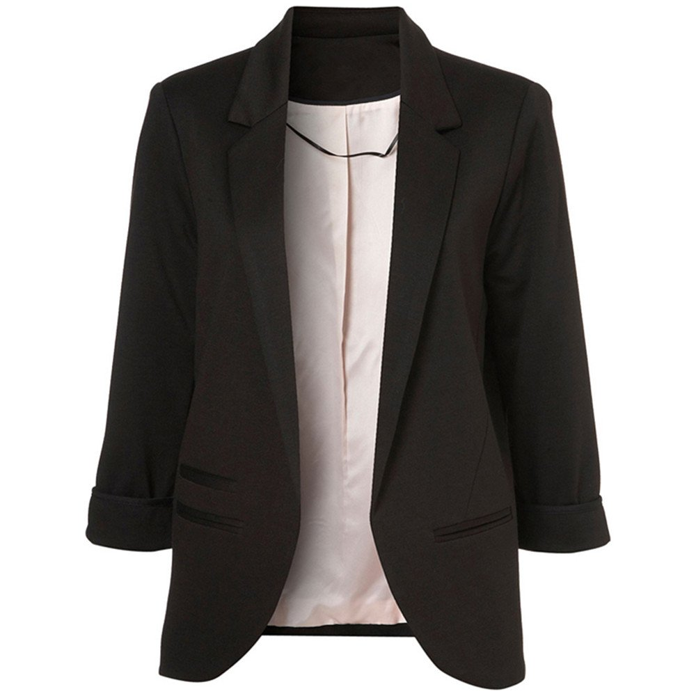 Lrud Women's Fashion Cotton Rolled up 3/4 Sleeve Slim Office Blazer Jacket Suits Black XL