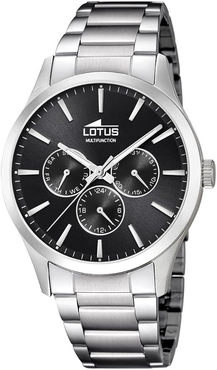 Lotus Watches Reloj Multiesfera para Hombre de Cuarzo con Correa en Acero Inoxidable 18575/8