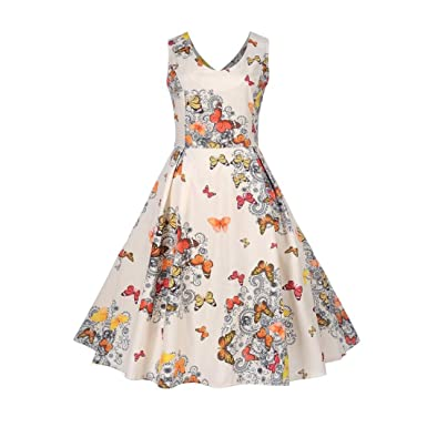 f79f8fe7f3de Lenfesh Women's Fashion Evening Party Prom Swing Dress,Vintage Casual  Floral Butterfly Printing O-Neck Bodycon Sleeveless V-Neck Empire Pleated  Dress for ...