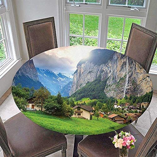 Mikihome The Round Table Cloth Town by The Rocks on Background Peaks Sunlight The Alps Green Grey for Birthday Party, Graduation Party 55