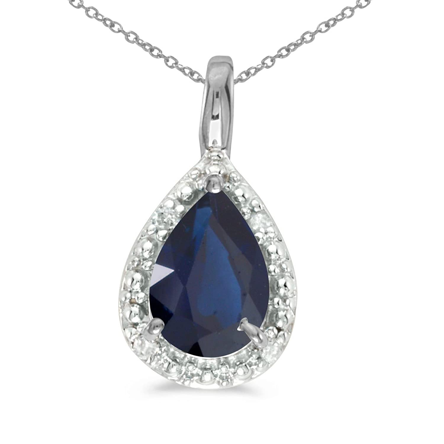 """Amazon 14k White Gold Pear Sapphire Pendant with 18"""" Chain"""