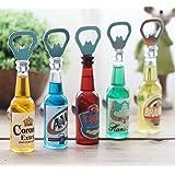 Fancy Shoppee Bottle Opener Fridge Magnet Beer Bottle Shape(Color Will be Picked up at Random) Pack of 1 PC