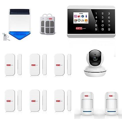 SZABTO Sistema de alarma inalámbrico GSM seguridad de seguridad para casa inteligente con 6 detectores de puerta de ventana y Sirena de energía solar ...