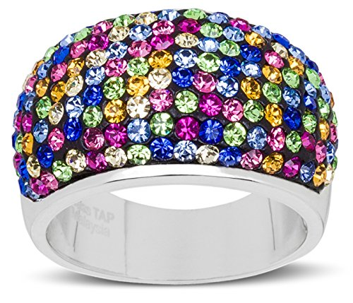 Carly Creations Women's Silver Plated Genuine Crystal MultiColored Band Ring Size 8