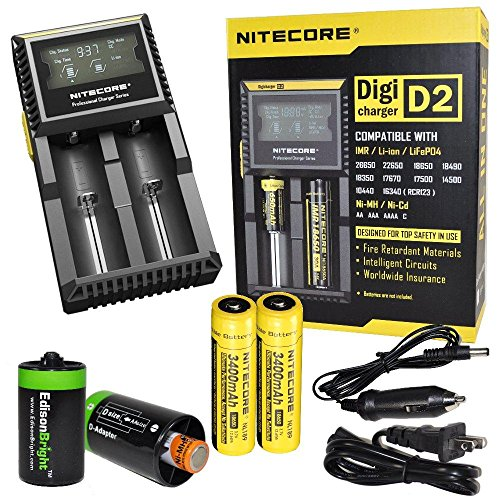 Nitecore D2 Digicharge universal home/in-car battery charger, Two Nitecore 18650 NL189 3400mAH rechargeable batteries with 2 X EdisonBright AA to D type battery spacer/converters