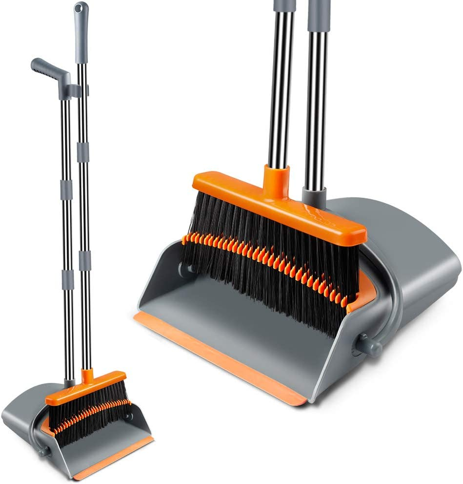 Kelamayi Broom and Dustpan Set, Super Long Handle Lobby Broom, Self-Cleaning with Dust Pan Teeth, Ideal for Home, Kitchen and Office Use (Gray & Orange)