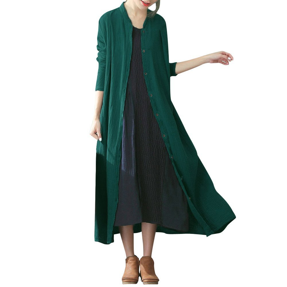 Women Long Sleeve Tunic Cardigan Cotton Solid Button Open Front Thin Coat Maxi Loose Jacket Coat Cardigan