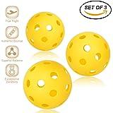 Pickleball Balls - Professional Patented 26 hole design Pickleball Balls Set Of 3 Outdoor & Indoor Pickleballs, High-Vis Optic Yellow Pickleball Balls