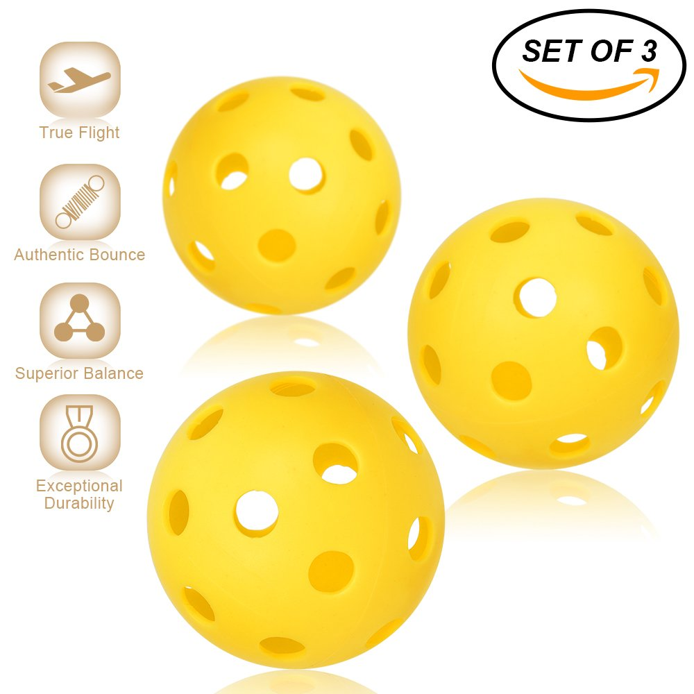 Pickleball Balls - Professional Patented 26 Hole Design Pickleball Balls, Set of 3 Indoor & Outdoor Pickleballs, High-vis Optic Yellow Pickleball Balls, USAPA Approved Pickleball Balls. Niupipo