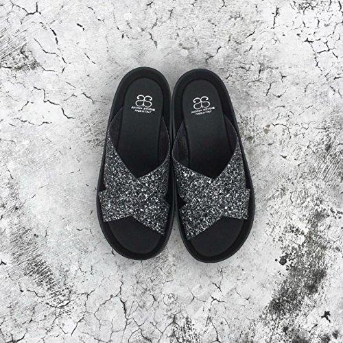 Andrew Stevens Womens Arcadia Made In Italy Glitter Criss Cross Footbed Sandal Black ddoDnuz