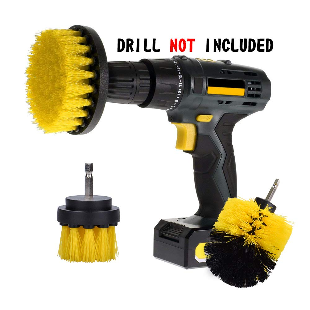 Scrub Brush Drill Attachment Kit Ninonly Nylon Power Brush Tile and Grout Bathroom Cleaning Scrub Brush Kit for Tub Shower Tile Corners Kitchen 3 Piece
