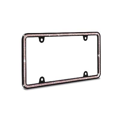 JR2 500 Super Bling Pink Glass Crystals Black Metal License Plate Frame+Free Caps (Pink): Automotive