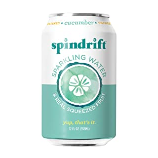Spindrift Sparkling Water, Cucumber Flavored, Made with Real Squeezed Fruit, 12 Fl Oz Cans, Pack of 24 (Only 2 Calories per Seltzer Water Can)