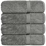 Superior Long-stable Turkish Cotton 4-Piece Bath Towels, Eco-Friendly, (Gray)