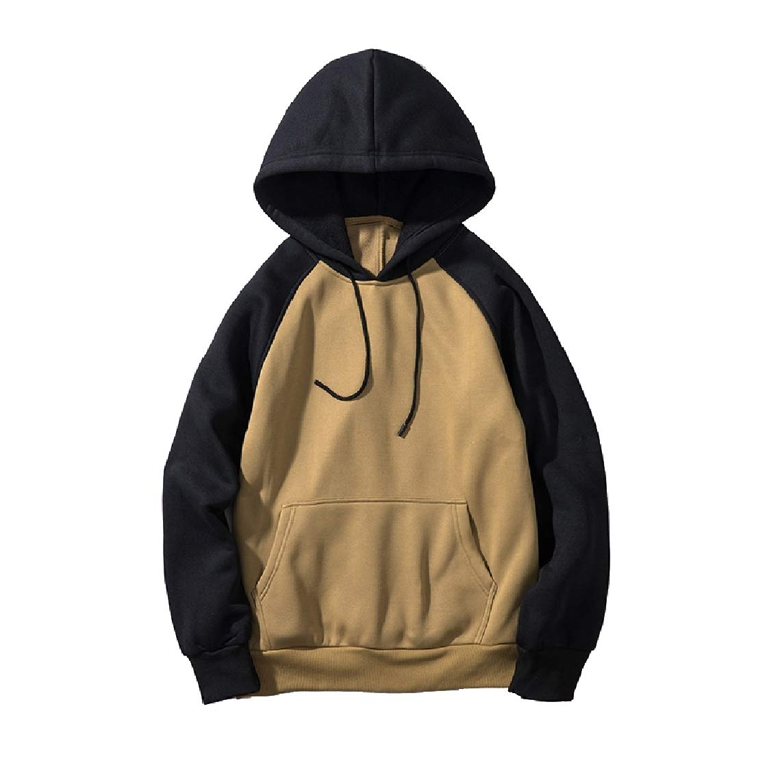 YUNY Mens Hooded Pullover Oversize Color Stitch Pullover Sweatshirt Khaki M