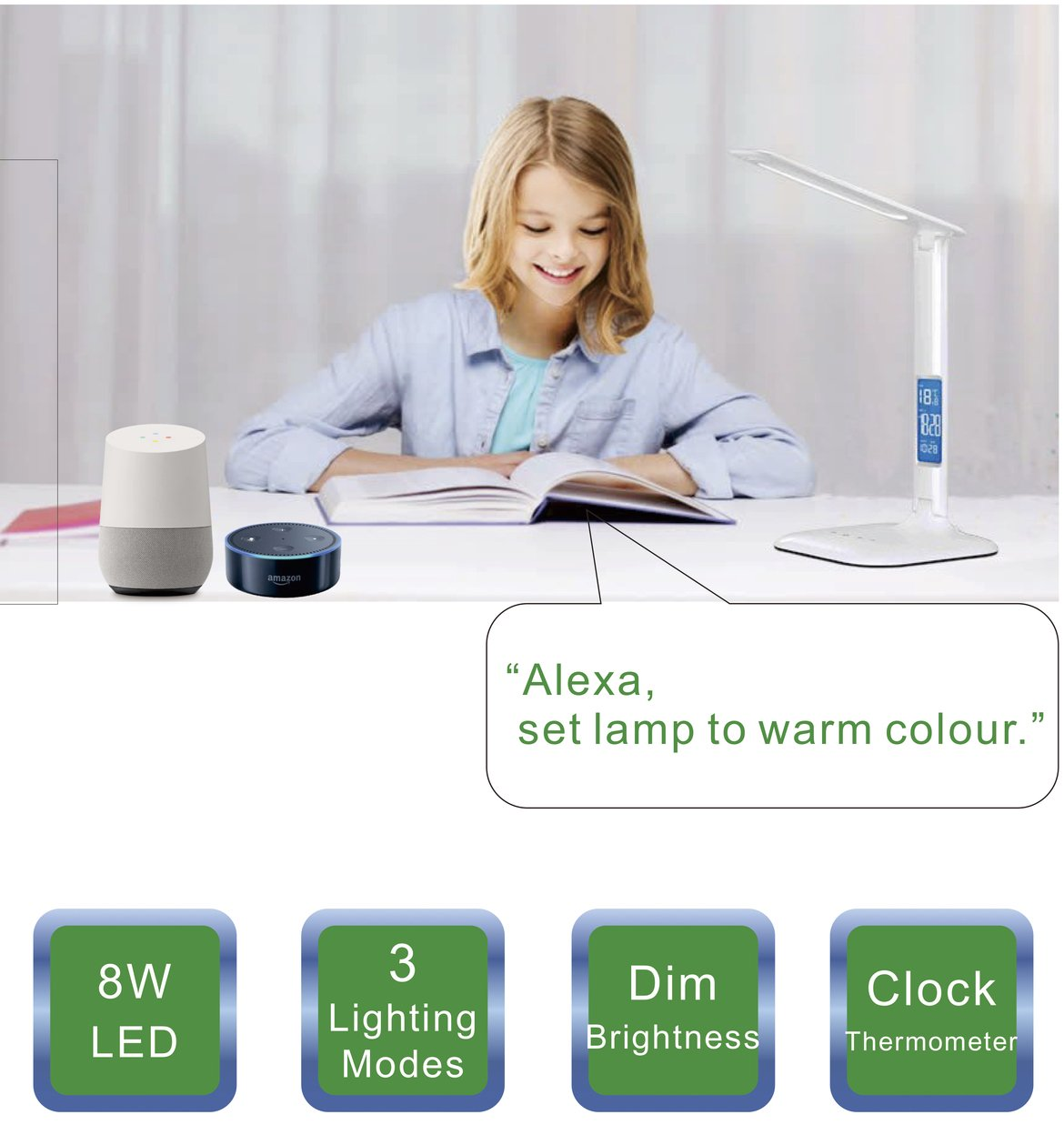 Smart WiFi Alexa Google Assistant Control LED Desk Lamp with Eye Caring Reading Light, 3 Lighting Mode, 5-Level Dimmer, Touch Control, Built-in Clock, Calendar, Thermometer by 3A Nue (Image #4)