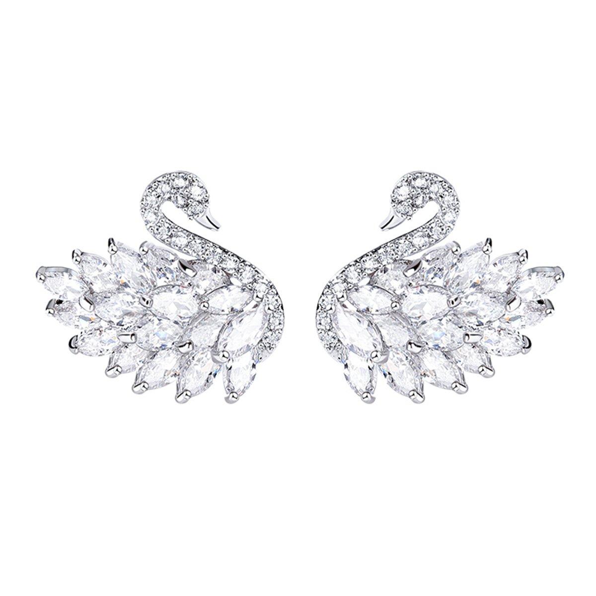 Merdia Lovely Swan Stud Earrings Cubic Zirconia Sterling Silver Pin for Women and Girls-White Swan