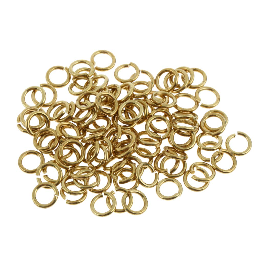 Baoblaze Pack of 100 Gold Plated Open Jump Rings Connectors Loops for Jewelry Making - Gold, 6mm