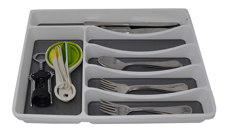 6 Compartments Plastic Flatware Tray W/Rubber Liner. 16