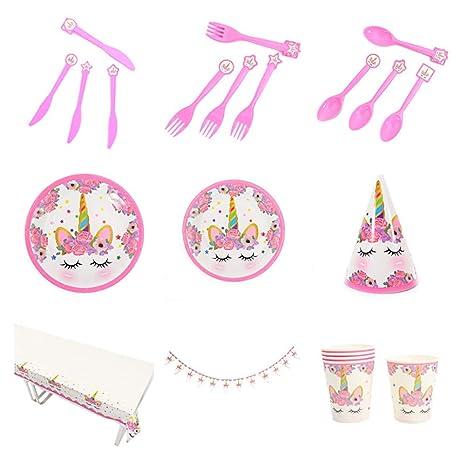 Tukistore 48 Piezas Unicornio Rosa para Fiestas Cumpleaños ...