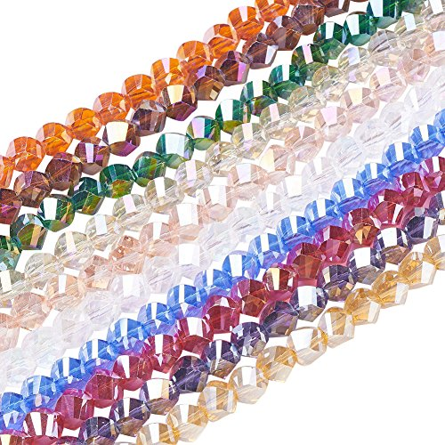 NBEADS 10 Strands AB Color Plated Faceted Twist Mixed Color Electroplate Glass Beads Strands with 8x8x8mm,Hole:1mm, About 72pcs/Strand ()