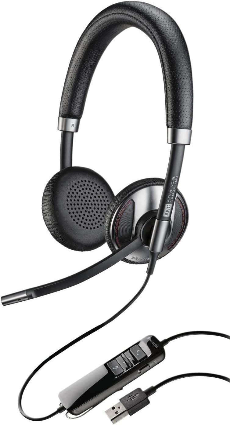 Plantronics C725-M - Auriculares de diadema abiertos (con micrófono, control remoto integrado, USB), negro