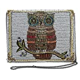 Mary Frances Owlsome Beaded Owl Theme Crossbody Clutch with Genuine Gemstones