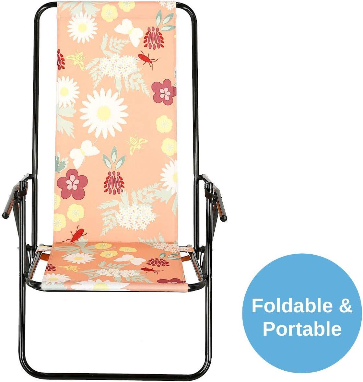 Pink W Flowers Beach Chair With Steel Frame Reclinable Garden Deck Chair Clas Ohlson Deck Chair Foldable Sunloungers Garden Outdoors