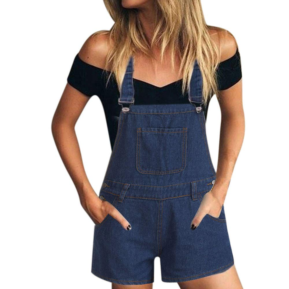 Kirbyates Women's Fashion Shorts Summer Loose Denim Bib Hole Pants Overalls Jeans Jumpsuit for Lady