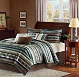 7pc Blue Brown White Southwest Comforter King Cal Set, Indian Themed Pattern, Horizontal Tribal Stripes Geometric Motifs Lodge, Native American Southwestern Bedding, Aztec Western Color Tan Teal