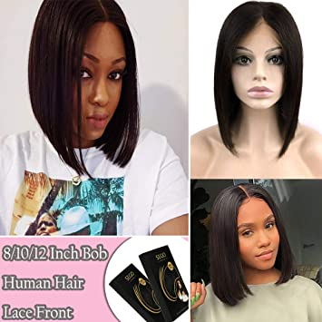 Lace Wigs Human Hair Lace Wigs Short Bob Wig Lace Front Human Hair Wigs Straight 4*4 Lace Frontal Wig Brazilian Hair 10 Inch Non Remy Middle Part Hair Comfortable And Easy To Wear