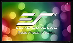 Elite Screens Sable Frame 2 Series, 100-inch Diagonal 16:9, Active 3D 4K Ultra HD Ready Fixed Frame Home Theater Projection Projector Screen, ER100WH2, Cinewhite