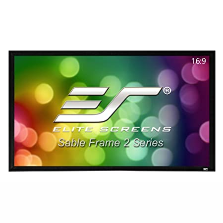 Elite Screens Sable Frame 2, 200-inch 16:9, Active 3D 4K Ultra HD Ready Fixed Frame Home Theater Projection Projector Screen, ER200WH2