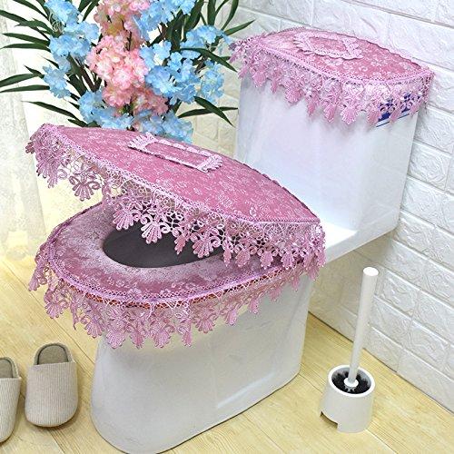 MKSFY Toilet Seat Cover 3-Piece Universal Zip-Up Plush Set European Lace Toilet, Pink
