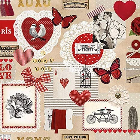 Colourful Hearts 33 x 33cm 4 Paper Napkins for Decoupage 3-ply 4 Individual Napkins for Craft /& Napkin Art
